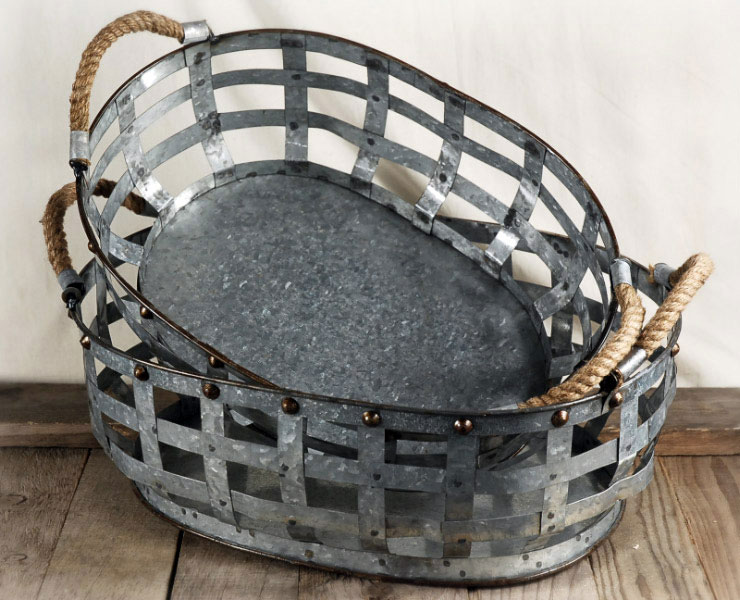 Set Galvanized Baskets With Rope Handles Amigo Party