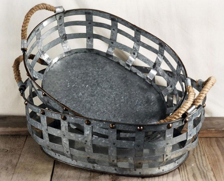 Set Galvanized Baskets With Rope Handles Amigo Party