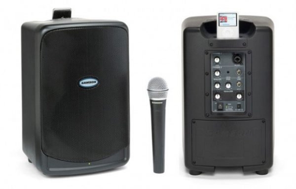 P-A-System-Samson-Battery-Operated-Wireless-Mic-Ipod-Dock