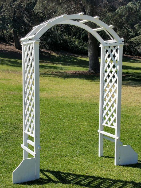 """White wood garden arch 60""""W x 92""""H"""