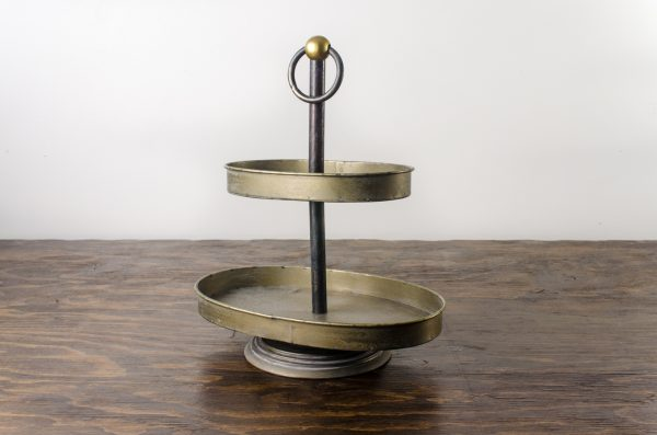 Pastry stand, oval weathered gray metal 2 -tier