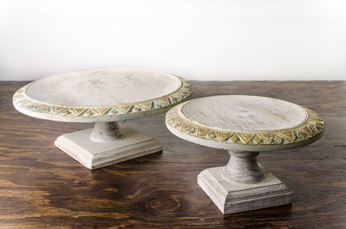 Cake Stand Wood Pedestal Shabby Chic Amigo Party