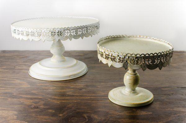 cake stand pedestal, vintage off white