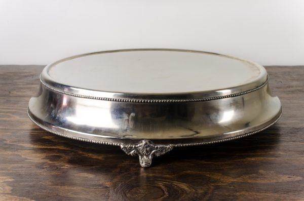 "cake stand, silver plated 18""RND"