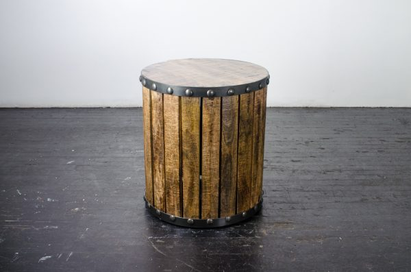 Lounge-Side table plank wood drum