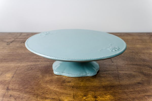 cake stand pedestal light blue