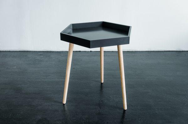 Side Table, Bayley Hexagon Black