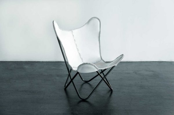 Lounge Chair, Butterfly White Leather