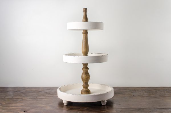 Pastry stand, distress wood 3- tier
