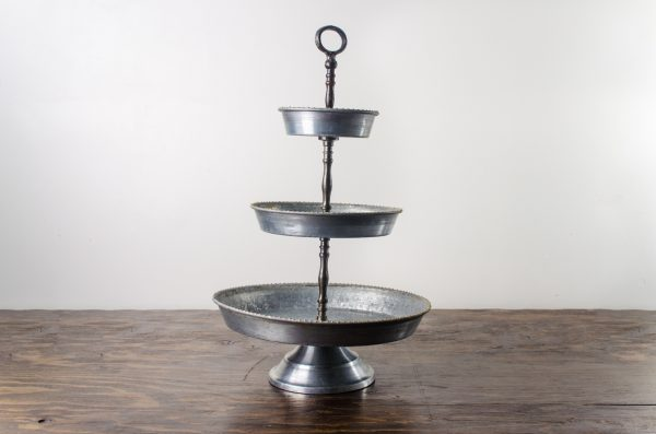 Pastry stand, galvanized 3- tier