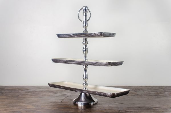 Pastry stand, hammered tetal 3-tier