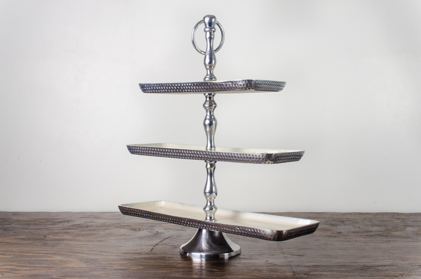 Pastry Stand Hammered Metal 3 Tier Amigo Party Rentals