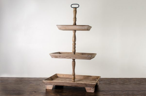 pastry stand, rustic wood 3 – tier