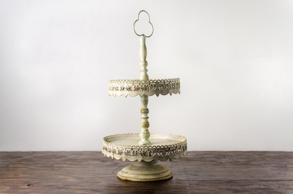 pastry stand, vintage off white 2- tier