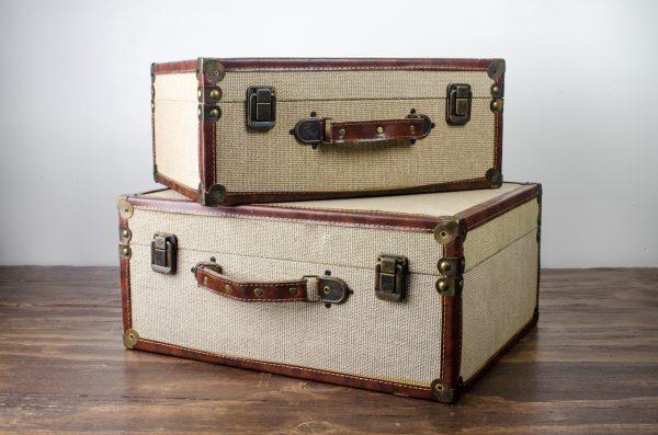 Burlap Vintage Look Luggage Cases