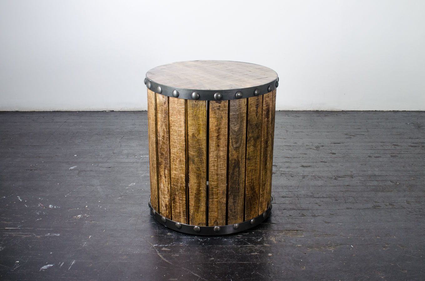 Lounge Side Table Plank Wood Drum
