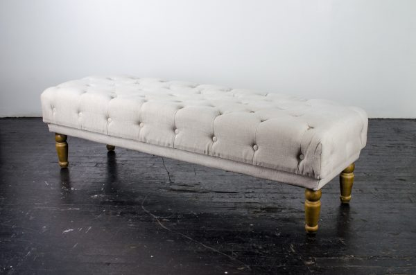 Lounge- bench tufted oatmeal
