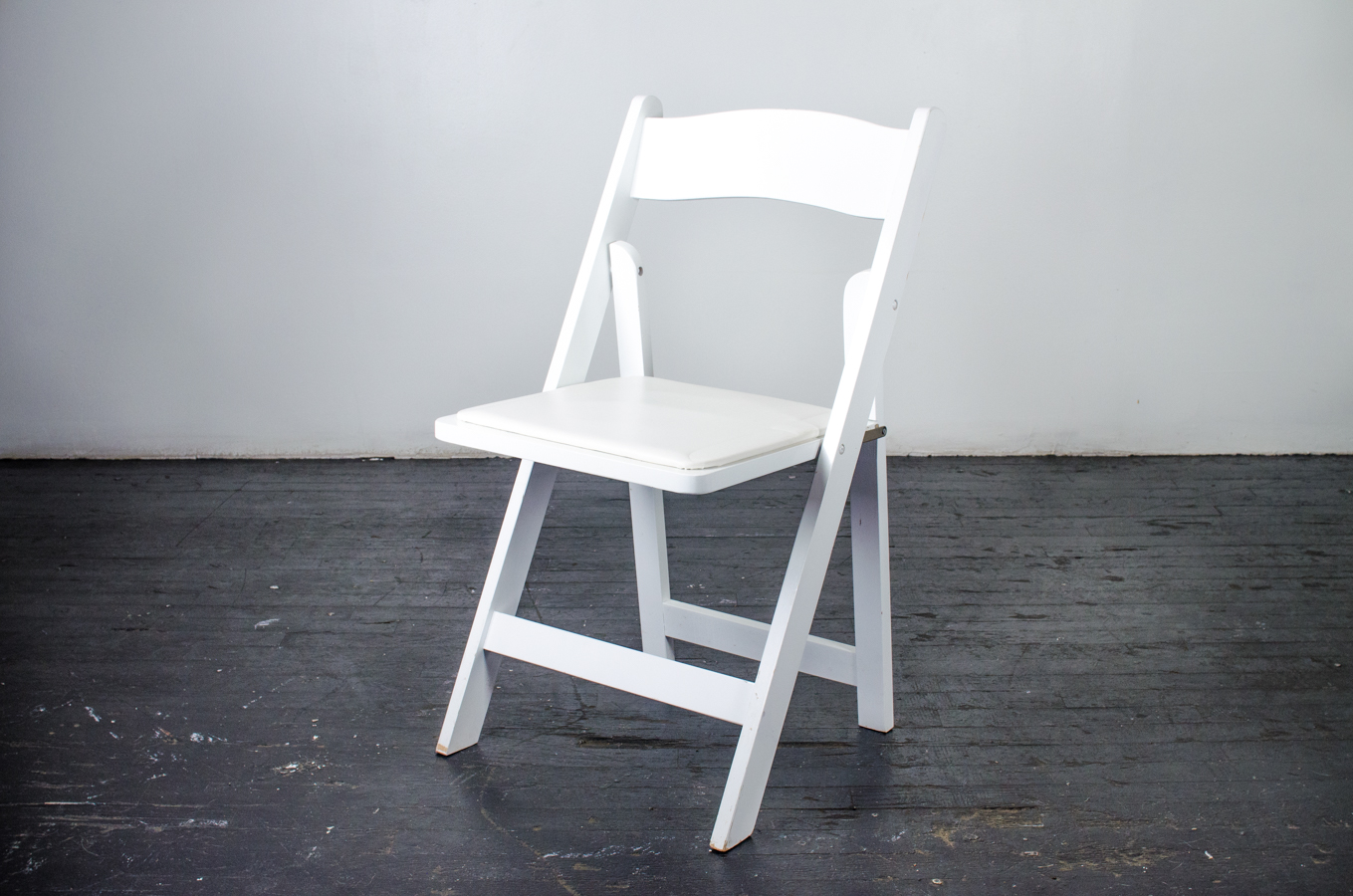 Chair, White Wood Folding