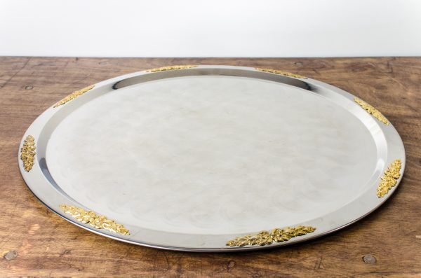 party tray gold floral motif
