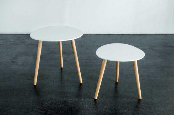 Side Tables, Set of 2 Mia White