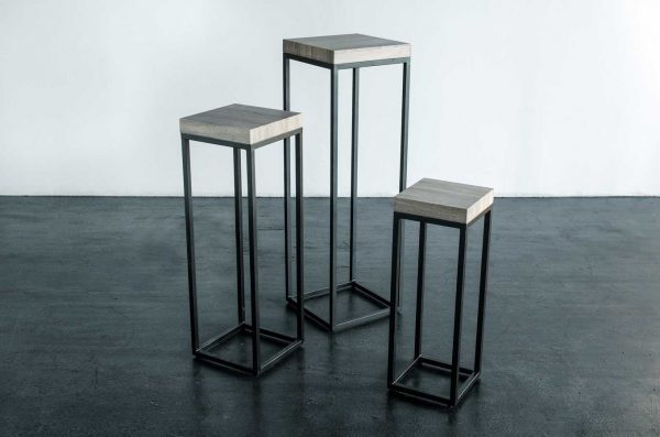 Pedestals, 3 Piece Set Black Wood Top