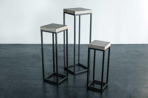 Pedestals, 3 Piece Set Black Wood Top