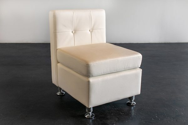 Armless Chair, Modern White (Tufted Back)