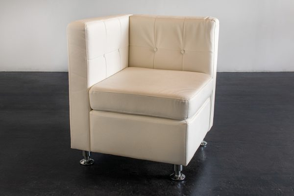 Corner Chair, Modern White (Tufted Back)