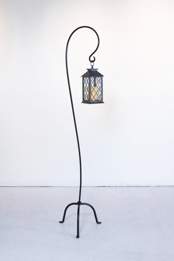 "Floor Lantern Hook, Iron Black 65"" Tall"