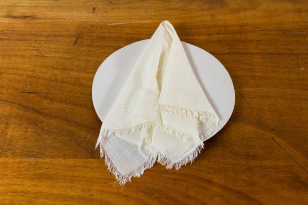 Napkin, Ivory Cotton W Fringe
