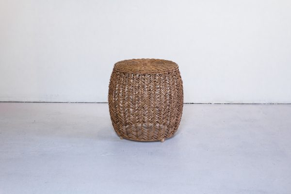 Side Table, Tan Wicker
