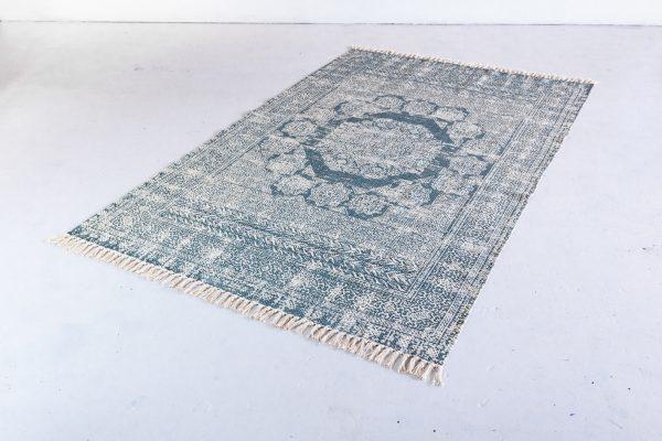 Area Rug, Blue & Cream Print 5'x8′