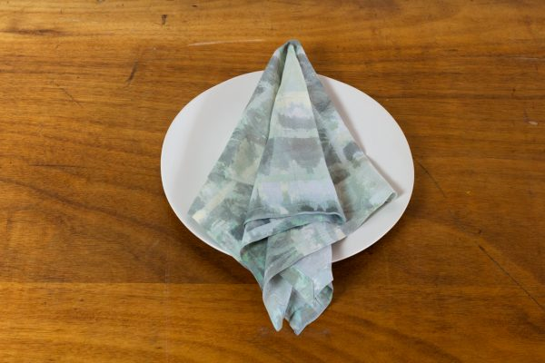 Napkin, Green & Gray Abstract Print